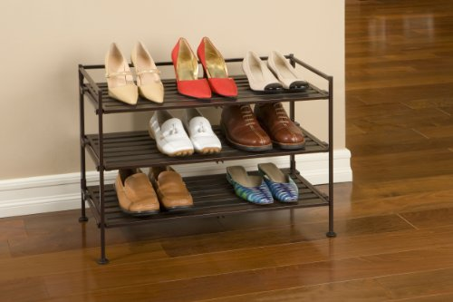 Seville Classics Resin-Wood Composite Utility Shoe Rack,single pack