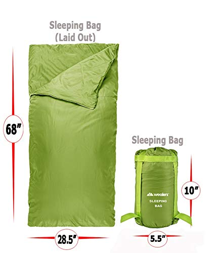 Wealers Lightweight Sleeping Bag – Zip up Bedroll| Water Resistant Carrying Case| Storage Tote – for Travel, Camping, Sleepovers, Overnights, Hiking, and More (Green)