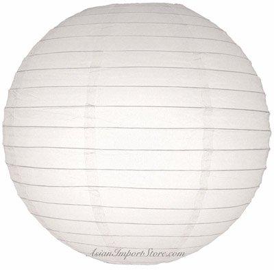 "Quasimoon 10"" White Even Ribbing Round Paper Lantern (10 PACK) by PaperLanternStore"