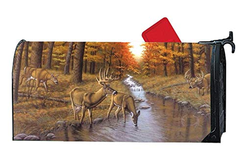 Personalized Magnetic Mailbox Cover Home Garden Decorative Mailbox Wraps Fall Deers Love Forests by Custom Mailbox Covers