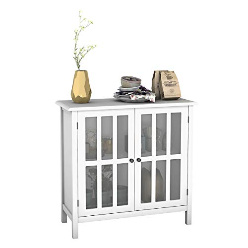 Cypress Shop Console Table Sideboard Buffet Cabinet Kitchen Pantry Storage Cupboard Console Table Double Glass Doors Dinning Pantry Organizer Display Shelf Server Home Decor Home Furniture