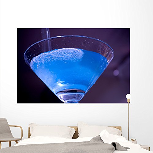 Wallmonkeys Blue Electric Martini Wall Mural Peel and Stick Graphic (72 in W x 48 in H) WM75437