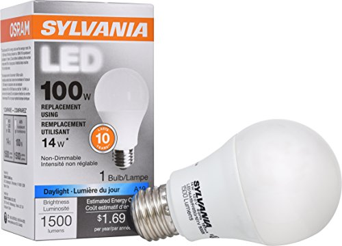 Base Long Life Light Bulb (SYLVANIA, 100W Equivalent, LED Light Bulb, A19 Lamp, 1 Pack, Daylight, Energy Saving & Long Life, Medium Base, Efficient 14W, 5000K)