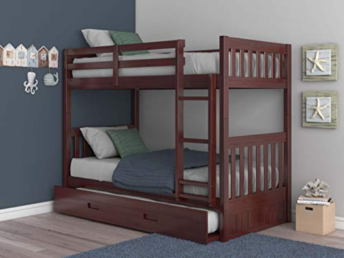 Discovery World Furniture Mission Twin Over Twin Bunk Bed with Trundle, Desk, Hutch, Chair and 5 Drawer Chest in Merlot Finish