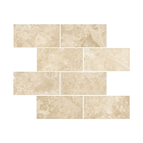 (Durango Cream (Paredon) Travertine 3 X 6 Subway Field Tile, Filled & Honed)