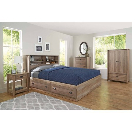 Better Homes and Gardens Lafayette Night Stand, Washed Oak Finish l Open Shelf Provides Additional Storage