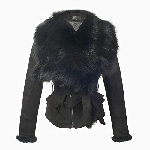 She'sModa Faux Suede Real Fox Fur Collar Jacket with Belt Slim Fit Women's Winter Short Coat M ()
