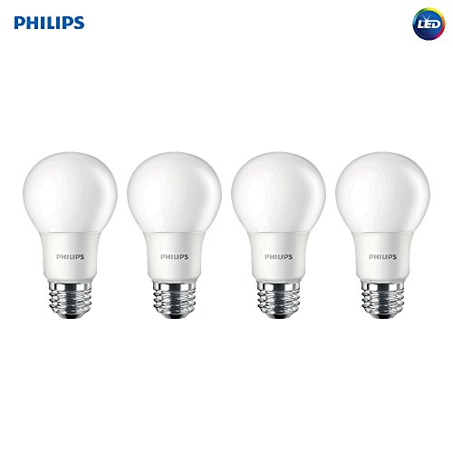 Philips LED Non-Dimmable A19 Frosted Light Bulb: 800-Lumen, 5000-Kelvin, 7-Watt (60-Watt Equivalent), E26 Base, Daylight, 4-Pack