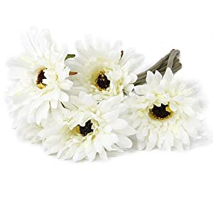 Pixnor 5X Artificial Gerbera Daisy Flowers Heads for Wedding Party 65