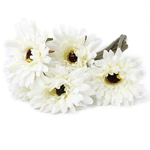 NUOLUX 5pcs Artificial Gerbera Daisy Flower for Wedding Home Decoration (White Gerbera Daisies)