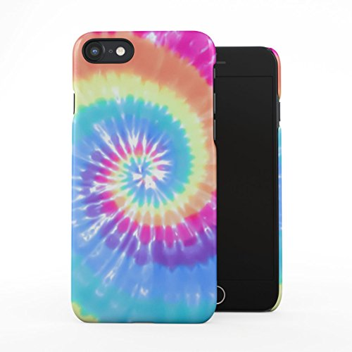 Tie Dye Rainbow Trippy Swirl Colorful Pale Rad Indie Boho Color Plastic Phone Snap On Back Case Cover Shell Compatible with iPhone 7 & iPhone 8