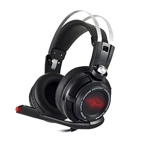 PS4 Headset - EasySMX S3 Stereo Gaming Headset for PS4/ PC/ Laptop/ Tablet/ Smartphone with Suspension Headband Omnidirectional Foldable Microphone Bass Vibration Control LED Lighting Suspension Tab