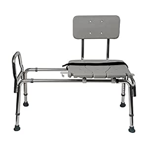 """Sliding Shower Chair Transfer Bench - Heavy Duty Sliding Bathtub Seat with Back for Elderly Seniors & Disabled - Adjustable Bench Seat Height 19"""" to 23"""" with Cut-out Seat, Gray"""