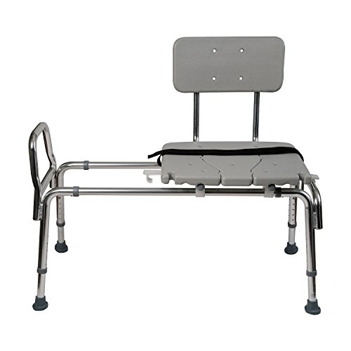 Duro Med Heavy Duty Sliding Transfer Bench Shower Chair With Cut Out Seat  And Adjustable Legs, Gray