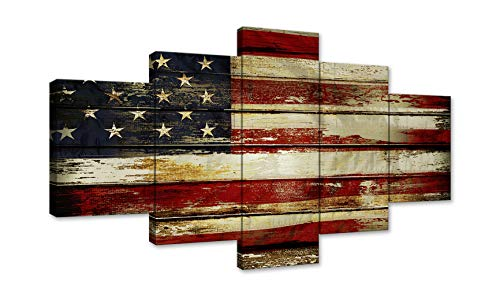 AMEMNY Vintage Wooden Style American Flag Independence Day Canvas Wall Art Painting 5 Panel Modern Posters and Prints Pictures for Living Room, Home Decor USA Flag Framed Ready to Hang (Usa Flag Wooden)