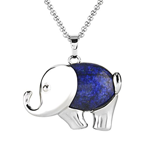 BEADNOVA Synthetic Synthetic Blue Lapis Lazuli Cute Elephant Gemstone Pendant Necklace Stainless Steel Chain 18
