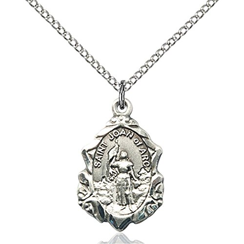 Bonyak Jewelry Sterling Silver St. Joan of Arc Pendant 3/4 x 1/2 inches with 18 inch Sterling Silver Curb ()