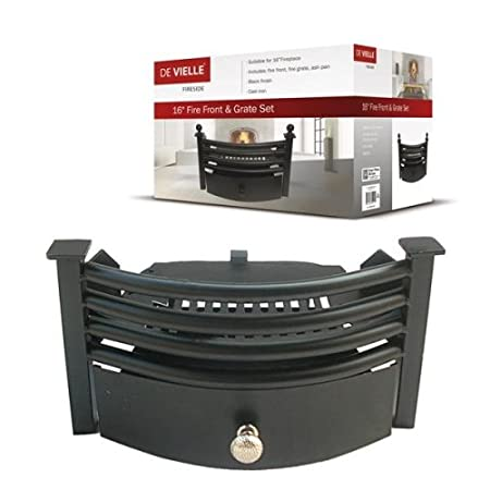 De Vielle Fireplace Full Fire Front Grate Set, Metal, Black ...