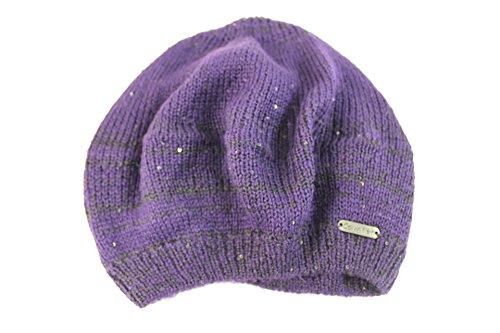 Calvin Klein Women's Petite Purple/Black Sparkle Beanie Hat