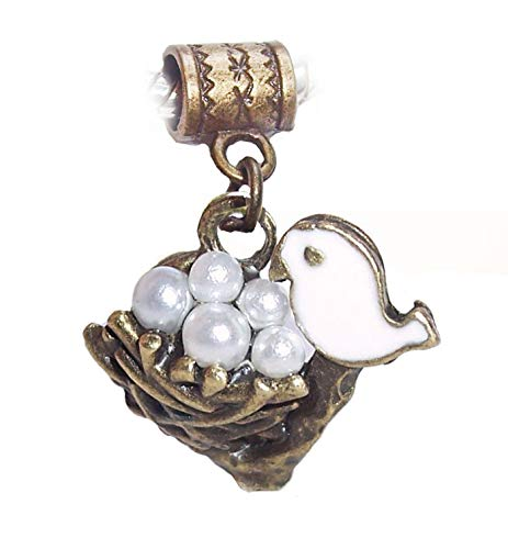(Bird Nest Pearl Eggs Bronze White Brown Dangle Charm for European Bead Bracelets Crafting Key Chain Bracelet Necklace Jewelry Accessories Pendants)