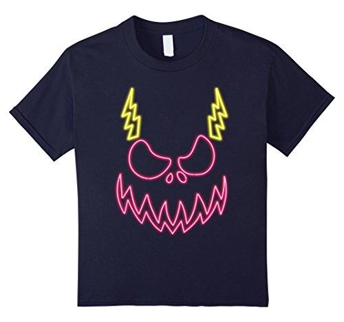 Scary Demon Face (Kids Scary Pumpkin Demon Face Halloween Retro NEON Bolt T-Shirt 12 Navy)