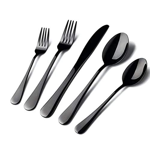 Black 20 Piece Silverware Set, Kitchen Utensil Set, Flatware set, Cutlery Set includes Fork/Spoon/Knife for Home and…