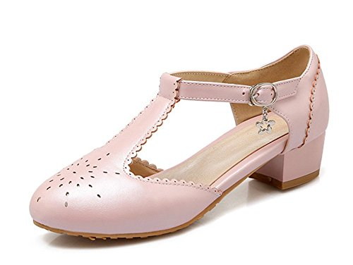 Aisun Womens Cute Round Toe Lace T Strap Buckle Mary Jane Pumps Low Heels Shoes With Ankle Straps Pink XY70osv