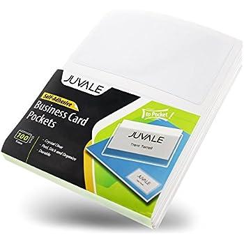 Amazon 100 pack self adhesive business card holders pockets business card plastic sleeves self adhesive poly pockets peel and stick business card holders colourmoves