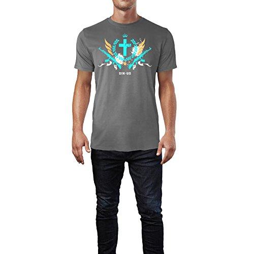 SINUS ART ® Grunge Gang Design mit Kreuz Herren T-Shirts in Grau Charocoal Fun Shirt mit tollen Aufdruck