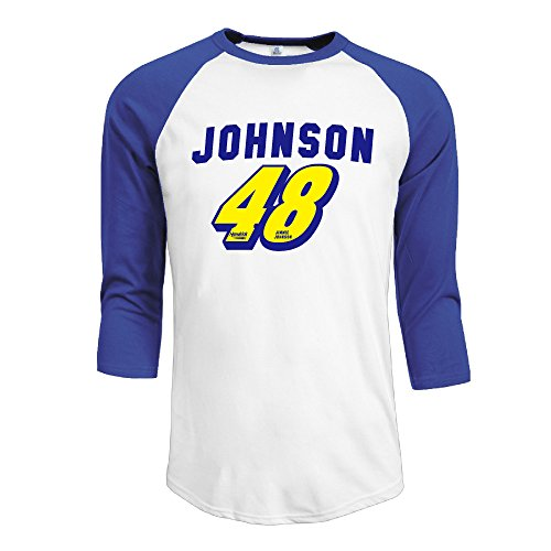 IYaYa Jimmie Johnson 48 Men's 3/4 Sleeve Raglan Baseball Shirt RoyalBlue (Johnson Motors Xxl)