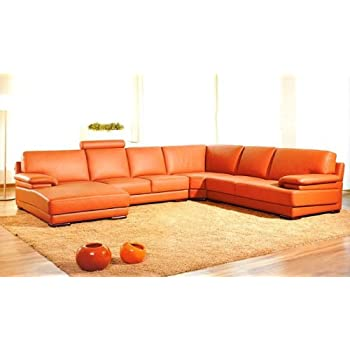 2227 Orange Leather Contemporary Sectional Sofa With Chaise
