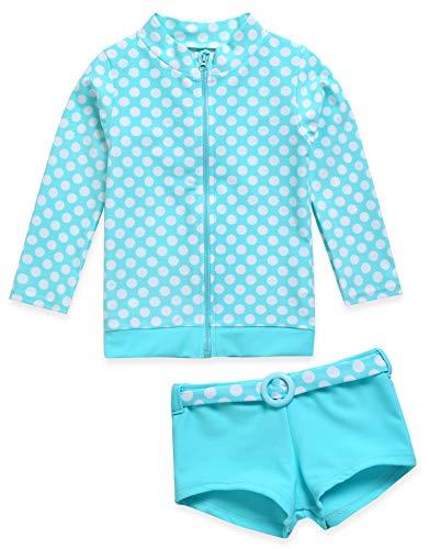 Vaenait baby Kids Girls Rashguard Swimsuit Long Shirt and Shorts Set Ocean Dot_Sky XL ()