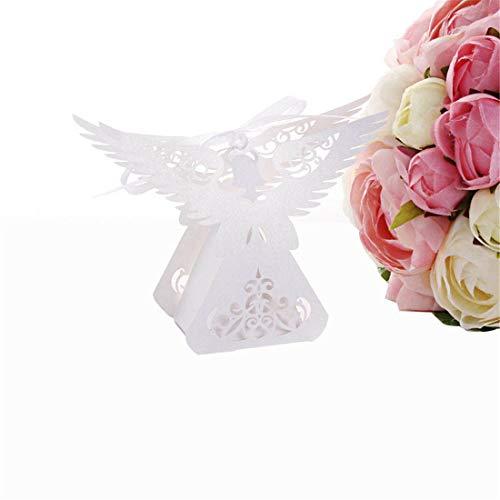 JONARO 50pcs Laser Cut Angel Wedding Box Souvenirs Baby Shower Candy Box Gift Box Party Supplies Wedding Decoration