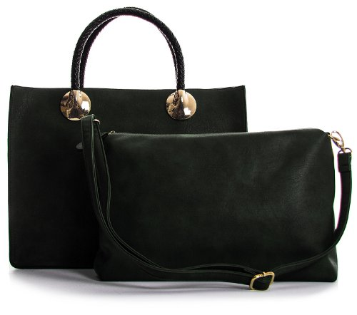 Two Big Tote Bag Dark Green Womens One Semi Handbag Shop Structured in Top Designer Handle 81rf8qTRn