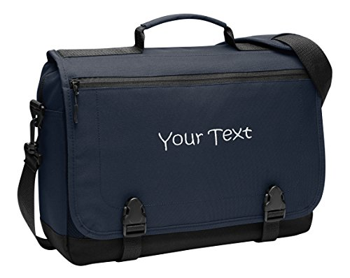 Embroidered Laptop Bags - Personalized Navy Port Authority Messenger Briefcase with One Line of Embroidery