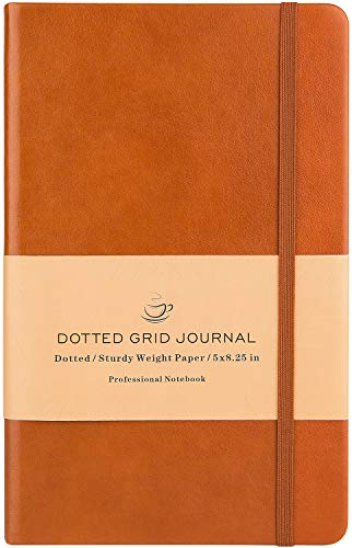 Dotted Grid Notebook/Journal - Dot Grid Hard Cover Notebook, Premium Thick Paper with Fine Inner Pocket, Brown Smooth Faux Leather, ()