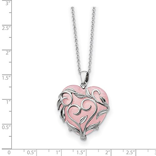 (Sterling Silver Rhodium Plated & Rose de France Pink Quartz Generous Heart 18in Necklace)