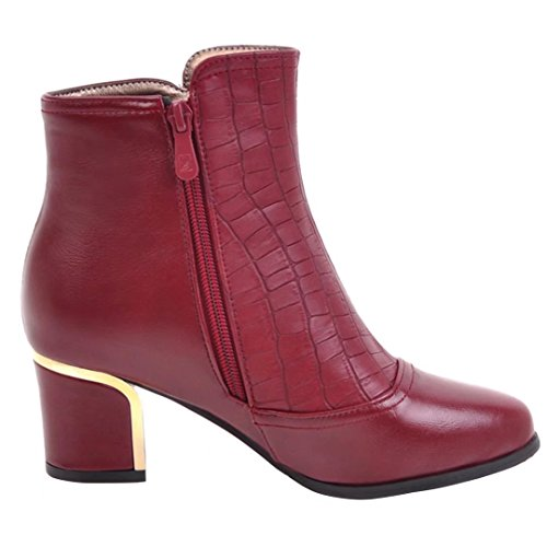 AIYOUMEI Damen Blockabsatz Stiefeletten mit Reißverschluss und Nieten Bequem Modern Kurzschaft Stiefel Rot