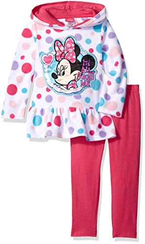 Shirred Leggings (Disney Girls' Minnie Mouse 2-Piece Legging Set, Hoodie White, 24 Months)