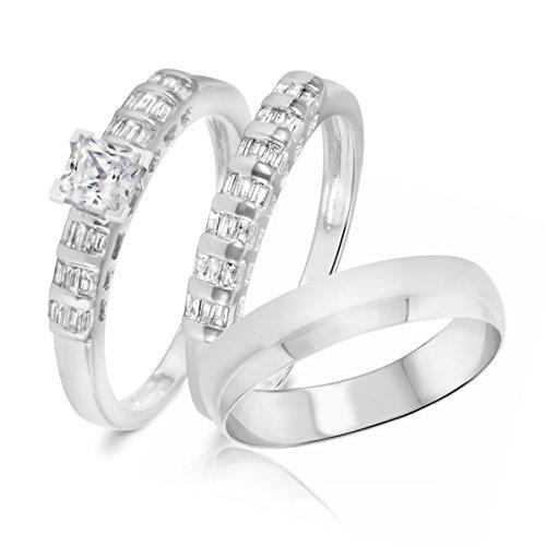 1 Ct Tw Baguette (1 Carat T.W. Princess, Baguette Cut Diamond Trio Wedding Set 14K White Gold- Size)