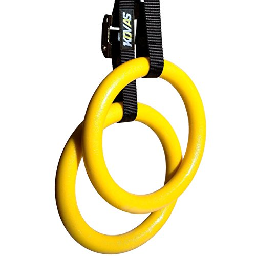 Kovas Gymnastic Fitness Rings, Olympic Calisthenic Equipment, Home Gym Body Weight Strength Training and Exercise, Straps Included by Kovas