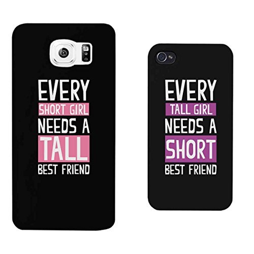 365 Printing Every Short Girl and Tall Girl Black Matching Best Friends Phone Cases Christmas Gift for BFFLeft Galaxy S6 Right iPhone 4