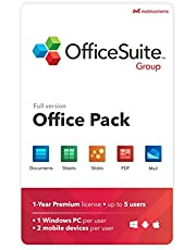 OfficeSuite Group Compatible with Microsoft® Office Word Excel & PowerPoint® and Adobe PDF for PC Windows 10 8.1 8 7-1-year license, 5 users