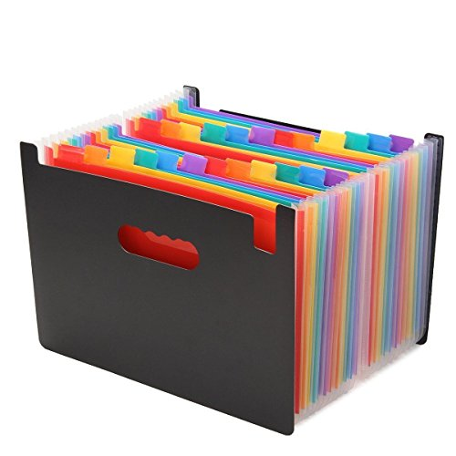 File Drawer Divider - Expanding File Folder - 24 Pockets A4 Size Expandable File Organizer- Portable Accordion High Capacity Multicolour Stand File Folder - Perfect For Business File