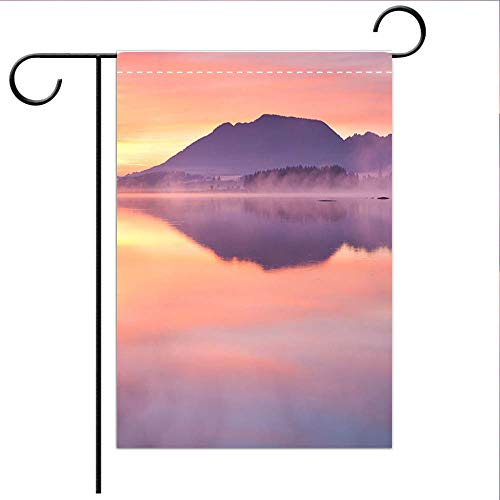 BEICICI Custom Personalized Garden Flag Outdoor Flag Tranquil Sunrise at Lake forggensee in Bavaria Germany Decorative Deck, Porch, Patio, Balcony Backyard, Garden or Lawn