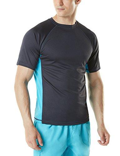 TSLA Men's UPF 50+Swim Shirt Loose-Fit Swim Tee Rashguard Top,Active Sun Block(mss01) - Charcoal & Sky, X-Large (Best Mens Swim Shirts)
