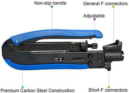 Hurricom RG6 Compression Tool Coax Cable Crimper Kit RG6 RG11 RG59 F81 with 20PCS F Compression Connectors