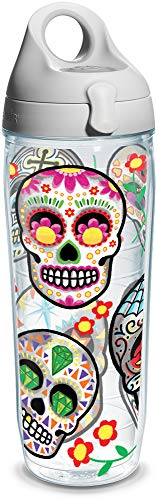 Tervis Colorful Sugar Skull Individual Wrap Water Bottle with Gray Lid, 24 oz, Clear ()