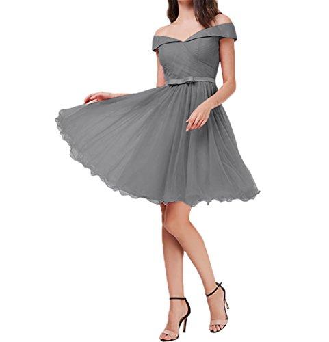 Partykleider Mini Oberhalb Charmant Abendkleider ausschnitt Knie V Damen Festlichkleider von Kurzes Cocktailkleider Grau 61g8zY1W