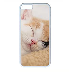Hard Back Cover Case for iphone 6 Plus,Cool Fashion Art White PC Shell Skin for iphone 6 Plus with Sleeping Cat